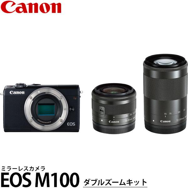 【送料無料】 キヤノン EOS M100 ダブルズームキット ブラック [2420万画素/手ブレ補正/タッチパネル液晶/Wi-Fi内蔵/スマートフォン連携/ミラーレスカメラ/デジタルカメラ/2209C024/Canon]