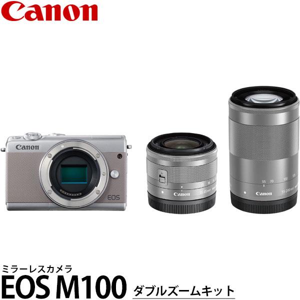 【送料無料】 キヤノン EOS M100 ダブルズームキット グレー [2420万画素/手ブレ補正/タッチパネル液晶/Wi-Fi内蔵/スマートフォン連携/ミラーレスカメラ/デジタルカメラ/2211C024/Canon]