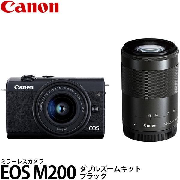 【送料無料】 キヤノン EOS M200 ダブルズームキット ブラック [有効約2410万画素/APS-CサイズCMOSセンサー/3型タッチパネル液晶/高速AF/4K動画記録/スマートフォン連携/ミラーレスカメラ/3699C016/Canon]