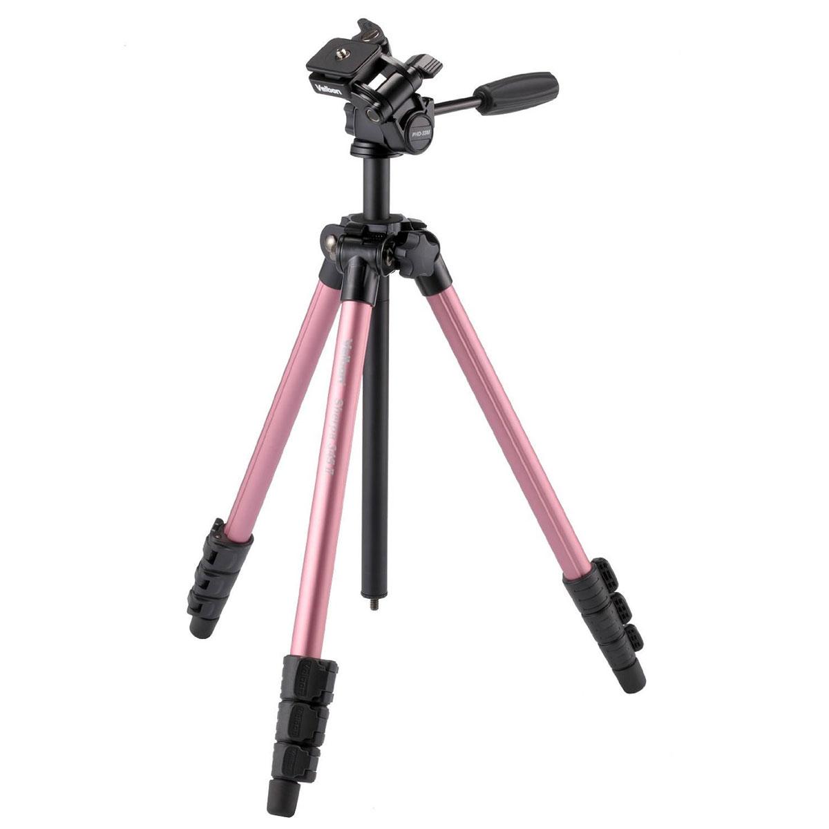 【送料無料】 ベルボン Sherpa 345II PINK アルミ三脚 ピンク [高さ146cm/耐荷重1.5kg/アルミ4段/ミラーレス一眼向けカメラ三脚/クイックシュー内蔵3ウェイ雲台付/Velbon]