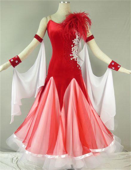【新商品】社交ダンスドレス競技用ドレス ダンス衣装デモドレス・舞台・演奏会・発表会ドレス【送料無料】【セミオーダー】競技用モダンドレス ワルツドレス♪鮮やかな赤と白、シンプルで上品♪
