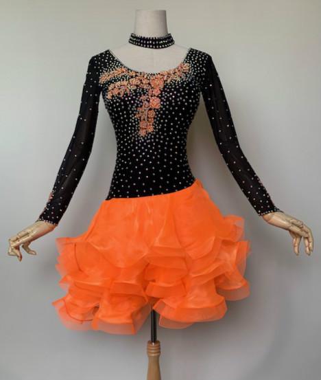 【即納商品】【送料無料】社交ダンス・社交ダンスドレス デモドレス・舞台・演奏会・発表会ドレス競技用ラテンドレス チャチャドレス♪黒とオレンジのコントラストが映える♪