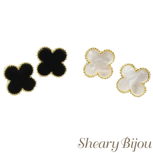 Monotone clover earrings minipias earring classy adult