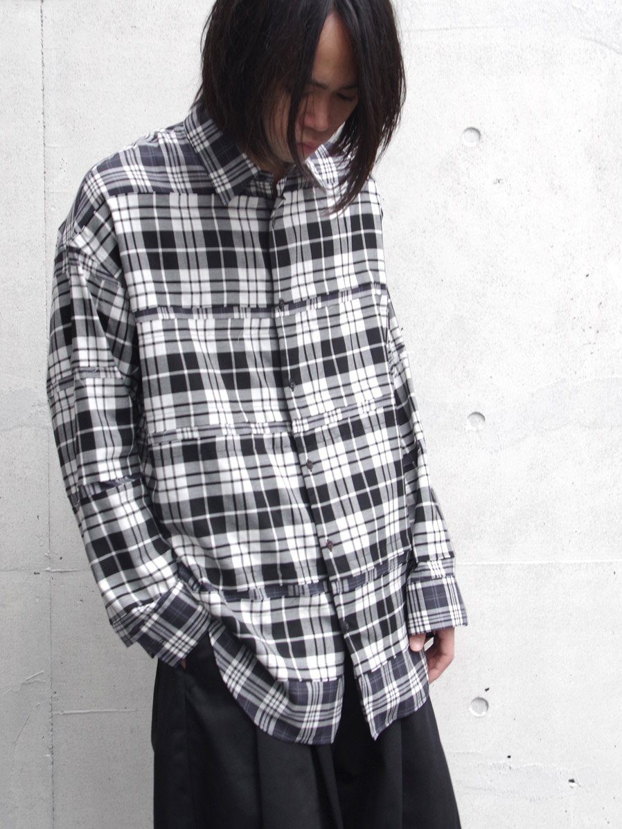 【20AW】ALMOSTBLACK | オールモストブラック // DOUBLE CLOTH WIDE SHIRT <シャツ> - CHECK