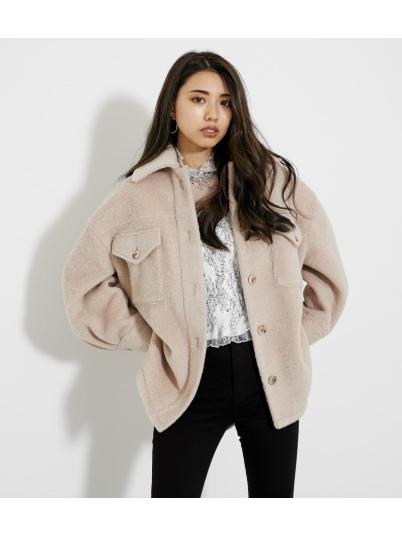rienda 当店は最高な サービスを提供します レディース コート 豊富な品 ジャケット リエンダ Rakuten 送料無料 ピンク ジャケットその他 CPOボアミディJK Fashion ホワイト