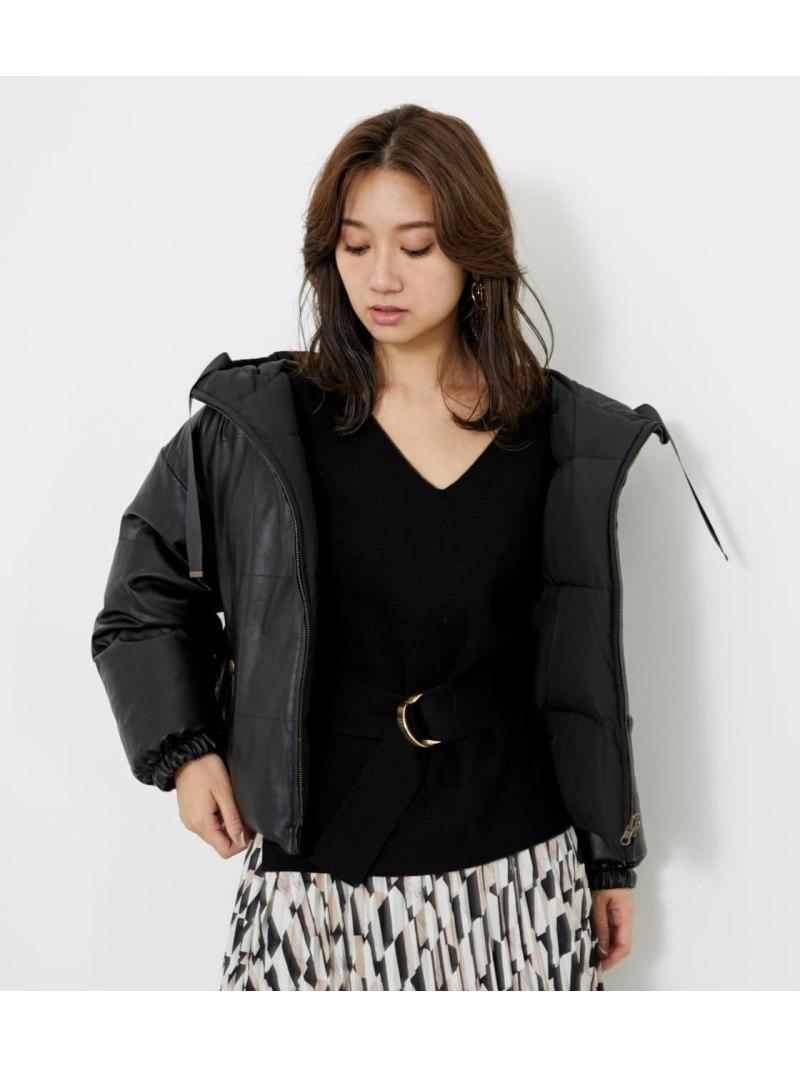 rienda レディース コート 半額 ジャケット リエンダ 買物 Rakuten Fレザーリバーシブルダウン ホワイト 送料無料 ジャケットその他 ブラック Fashion