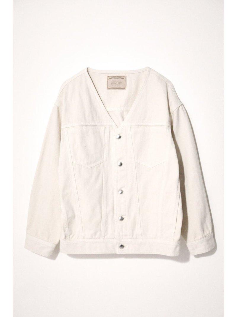 LAGUA 毎日がバーゲンセール GEM レディース コート ジャケット ラグア ジェム Rakuten Fashion JK 大人気 デニムジャケット 送料無料 DENIM COLLAR ホワイト NO LOOSY