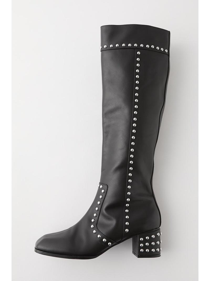 moussy レディース シューズ 爆安 マウジー MOUSSY Rakuten Fashion SALE 50%OFF 送料無料 ブーツ LONG 販売期間 限定のお得なタイムセール RBA_E KNEE STUDDED ブラック シューズその他