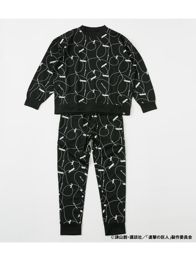 R4G レディース カットソー アールフォージー Rakuten 直送商品 秀逸 Fashion 進撃の巨人 3D 送料無料 カットソーその他 ブラック ホワイト MANEUVER TRACKSUIT GEAR