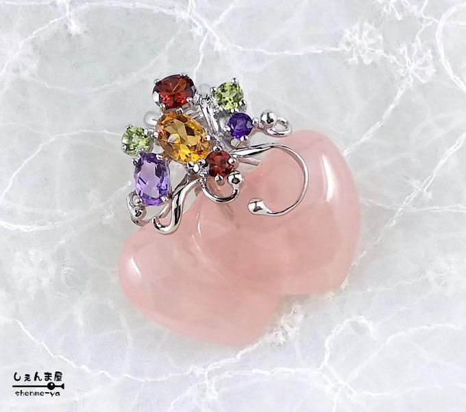 散りばめられた宝石の美しさ♪天然石 ローズクォーツのツインハート*銀製(SV925)ペンダントトップ 【パワーストーン お守り 恋愛成就 紅水晶】【あす楽対応】