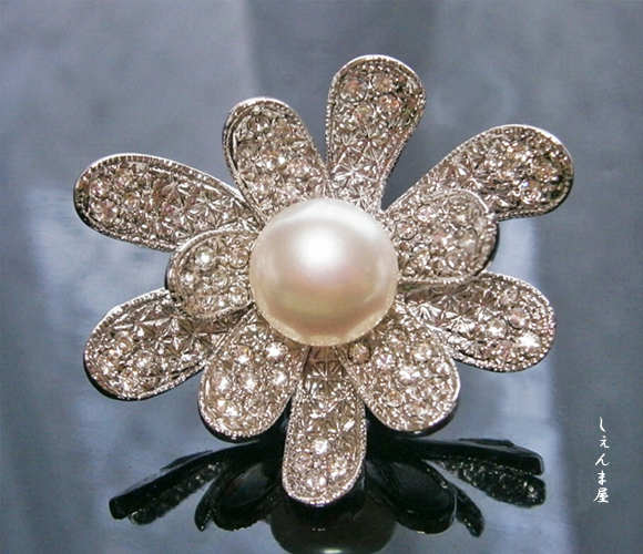 天然本真珠大粒10ミリアップ!お花帯留め【和装小物 着物 帯飾り パール】【ラッキーシール対応】
