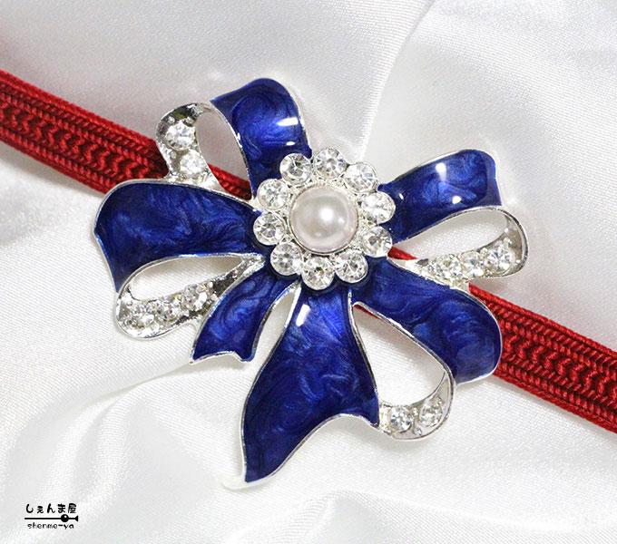 あこや本真珠が美しいブルーリボン 帯留め パーティ パール 着物 和装 激安☆超特価 帯飾り 卓越
