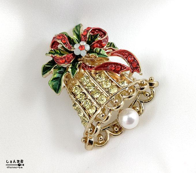 上品なクリスマスカラーが素敵 あこや本真珠 激安通販専門店 ベル 帯留め AL完売しました。 パーティ Xmas 帯飾り 和装