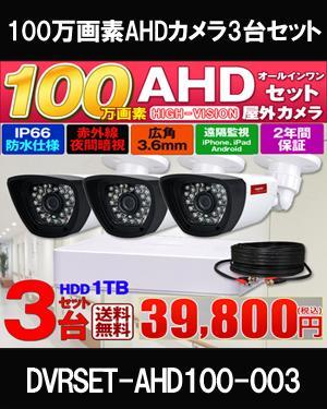 防犯カメラ 屋外 カメラ3台セット 130万画素 監視カメラ AHD HDD 1TB 高画質 防水 赤外線 暗視カメラ 4ch 録画機 レコーダー 動体検知 駐車場 車上荒らし 家庭用 初心者 送料無料 DVRSET-AHD100-003