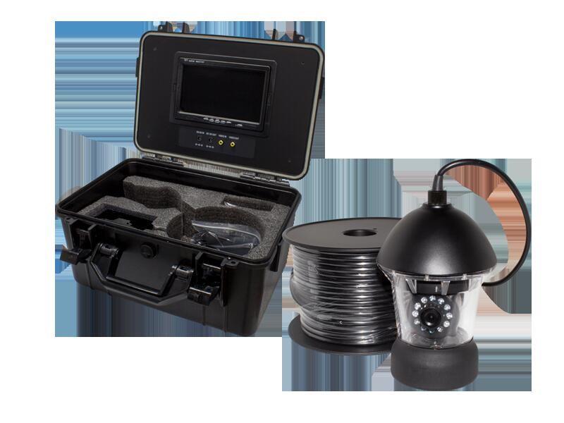 アナログ41万画素 赤外線LED・360度左右旋回機能搭載 水中カメラ ポータブル7インチモニター内蔵ケースセットWTW-WPA40R-9
