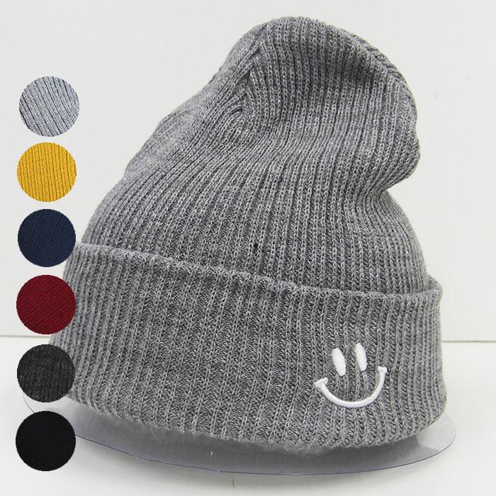 ゆうパケットで送料無料 ニット帽 レディース スマイル メンズ 10%OFF 刺繍 フリーサイズ 国内即発送 かわいいアクリル 高級品 帽子 sk51020 シンプル デザイン