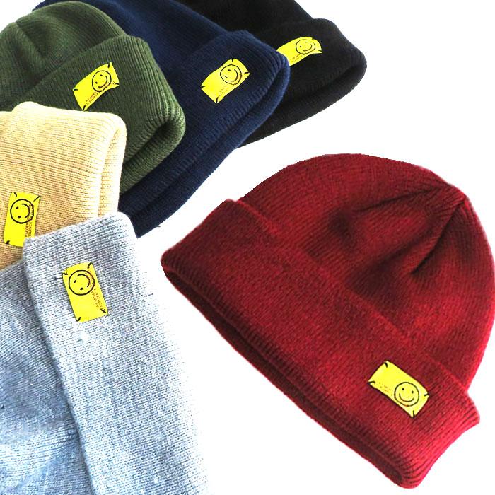 ゆうパケットで送料無料 ニット帽 送料無料限定セール中 レディース ワッペン メンズ 秋冬10%OFF 人気激安 タグ スマイル シンプル デザイン cr51027 フリーサイズ 帽子 SMILE かわいいアクリル