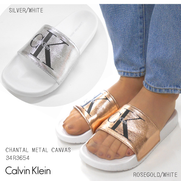 f06283da4 Calvin Klein metallic rubber sandals CALVIN KLEIN CHANTAL METAL CANVAS  RUBBER SANDALS CK Lady s sandals beach sandal
