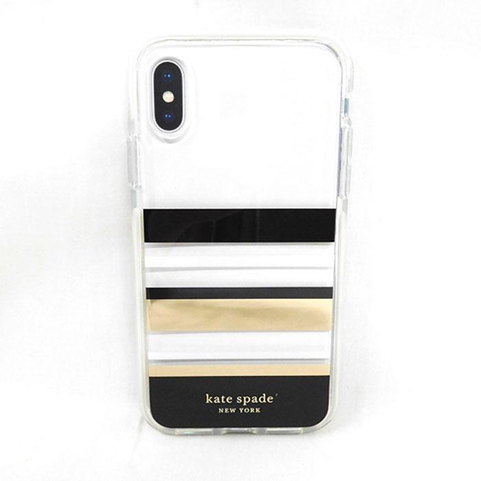 ★ラッピング無料★Katespadeケートスペード iphoneケースKSIPH-104-PSBGCiPhone xs x IPHONE XS X ケィトスペードニューヨークアイフォンケース 透明 クリア ロゴ ブラック ゴールド ホワイト マルチカラーシンプル オシャレ