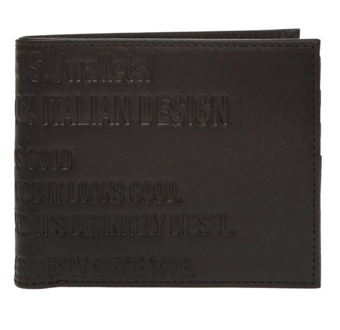 ディーゼル 小銭入れつき2つ折り財布DIESEL ブラック 黒BLACK コンパクト 型押し ロゴX06734P0503T8013 プレゼント メンズ