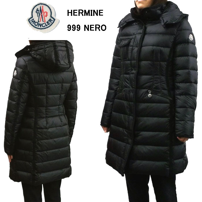 MONCLER HERMINEモンクレール エルミンヌフード付きレディースダウンコート軽量ダウンジャケット.999NERO(ブラック)