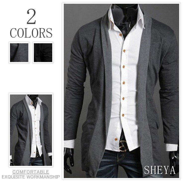オープン記念 セール ロングカーディガン メンズ 大きいサイズ 羽織 無地 薄手 ロング丈 バイカラー 黒 グレー 大きいサイズ