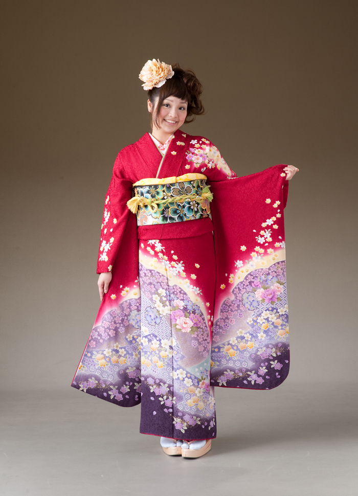 振袖 レンタル 着物 振袖 fs137 赤裾紫ぼかし 桜など花柄 Lサイズ 結婚式 成人式 貸衣裳 貸衣装 和服 往復送料無料 【レンタル】
