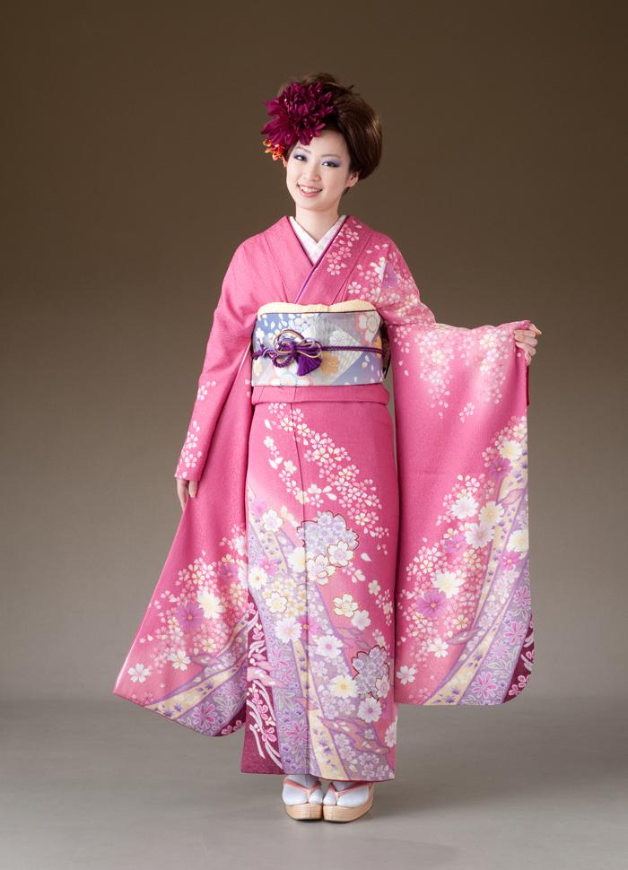 振袖 レンタル 着物 振袖 fs141 薄ピンクに桜藤色の柄 Lサイズ 結婚式 成人式 貸衣裳 貸衣装 和服 往復送料無料 【レンタル】