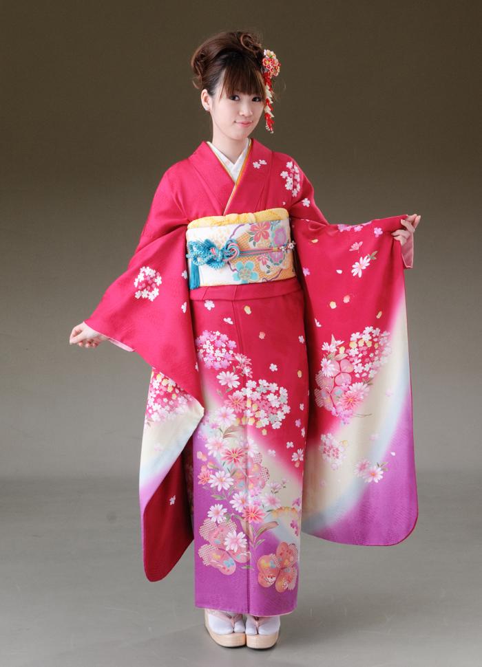 振袖 レンタル 着物 振袖 fs144 anan 濃いピンク紫.ピンクの小花 Lサイズ 結婚式 成人式 貸衣裳 貸衣装 和服 往復送料無料 【レンタル】