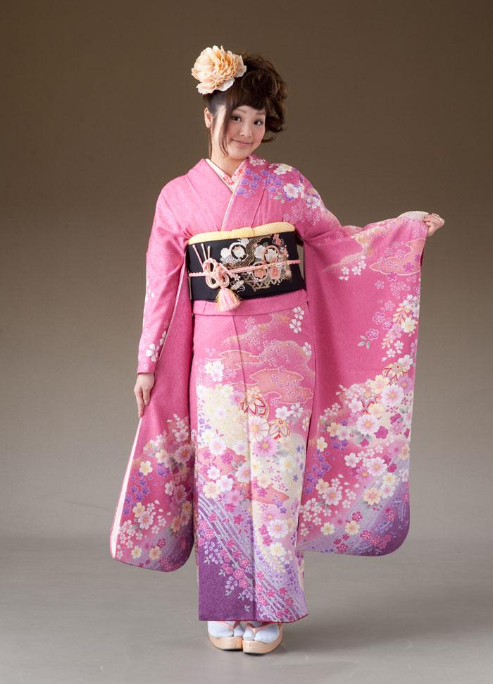 振袖 レンタル 着物 振袖 fs154 ピンクに桜花裾パール系 Mサイズ 結婚式 成人式 貸衣裳 貸衣装 和服 往復送料無料 【レンタル】