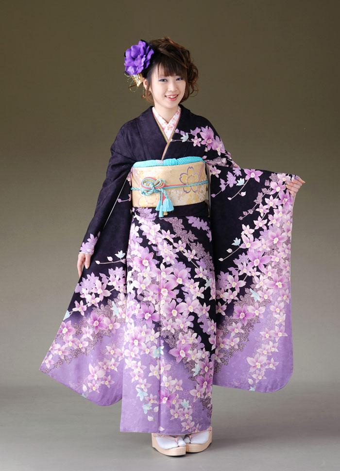 振袖 レンタル 着物 振袖 fs165 紫 花柄 Lサイズ 結婚式 成人式 貸衣裳 貸衣装 和服 往復送料無料 【レンタル】