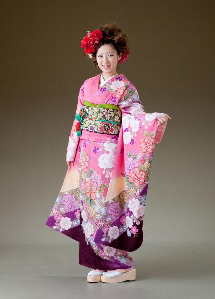 振袖 レンタル 着物 振袖 fs215 ピンク 裾紫のしめ風柄 Lサイズ 結婚式 成人式 貸衣裳 貸衣装 和服 往復送料無料 【レンタル】