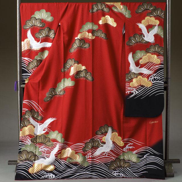 振袖 レンタル 着物 振袖 fs264 赤地 鶴と松と波 Lサイズ 結婚式 成人式 貸衣裳 貸衣装 和服 往復送料無料 【レンタル】