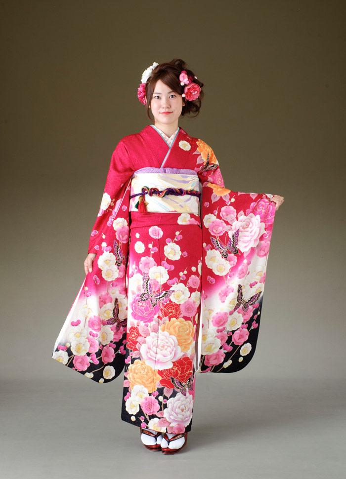 振袖 レンタル 着物 振袖 fs283 ローズピンク 花と蝶 Lサイズ 結婚式 成人式 貸衣裳 貸衣装 和服 往復送料無料 【レンタル】