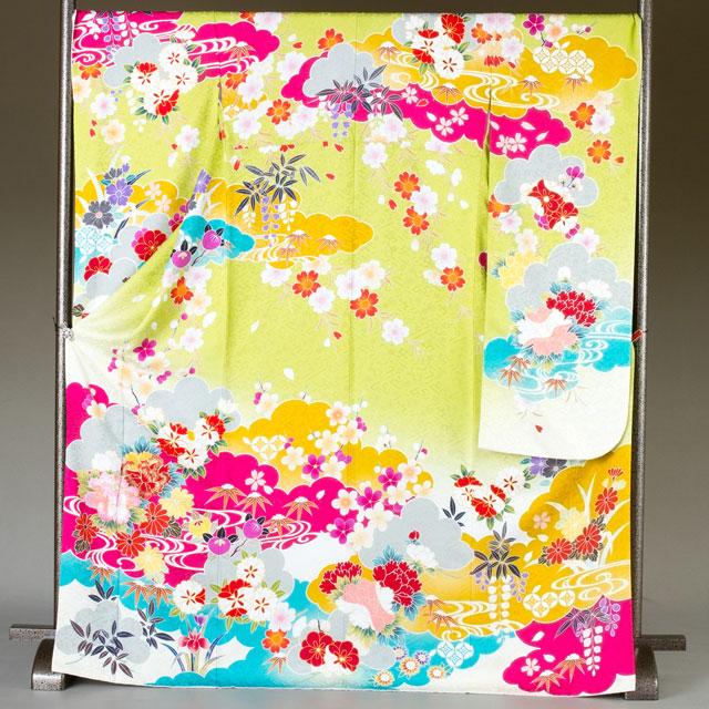 振袖 レンタル 着物 振袖 fs290 黄緑ピンク水色の花々 Lサイズ 結婚式 成人式 貸衣裳 貸衣装 和服 往復送料無料 【レンタル】