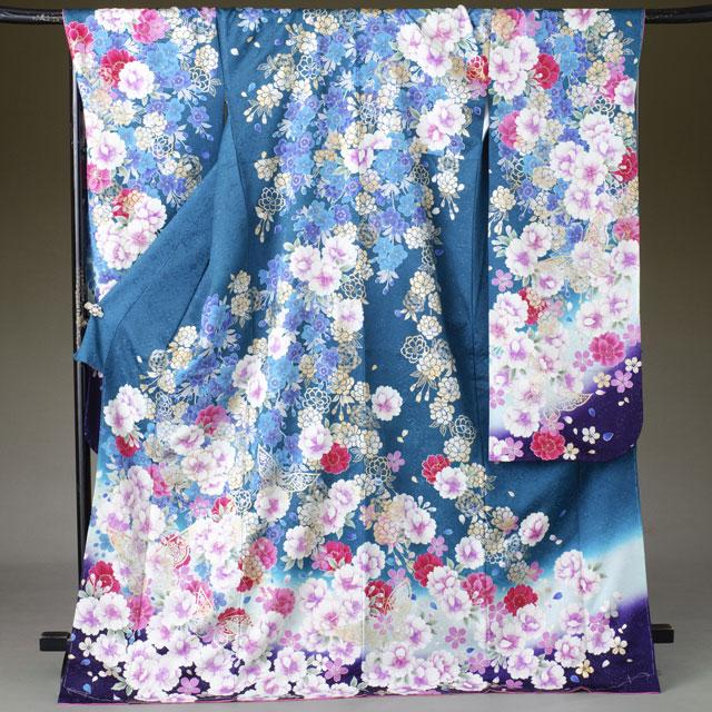 振袖 レンタル 着物 振袖 fs302 深緑 紫ぼかし調の花 Lサイズ 結婚式 成人式 貸衣裳 貸衣装 和服 往復送料無料 【レンタル】