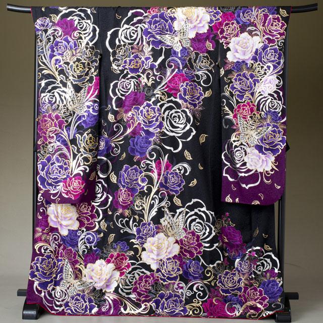 振袖 レンタル 着物 振袖 fs304 黒地に紫 ラメ蝶と花 Lサイズ 結婚式 成人式 貸衣裳 貸衣装 和服 往復送料無料 【レンタル】