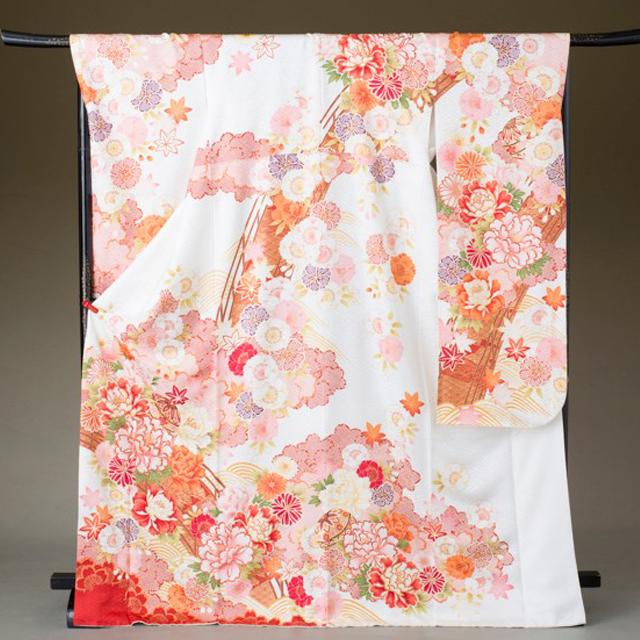 振袖 レンタル 着物 振袖 fs319 白地にピンク赤の四季の花々 結婚式 成人式 貸衣裳 貸衣装 和服 往復送料無料 【レンタル】
