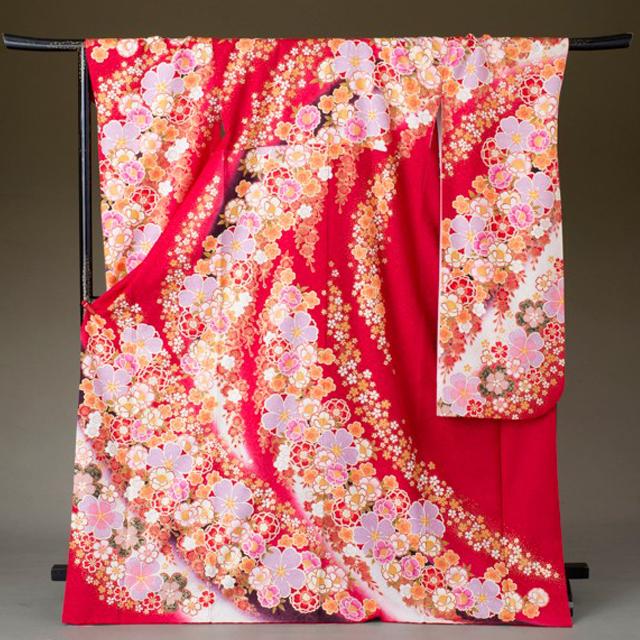 振袖 レンタル 着物 振袖 fs321 赤に白ぼかし桜づくし 結婚式 成人式 貸衣裳 貸衣装 和服 往復送料無料 【レンタル】