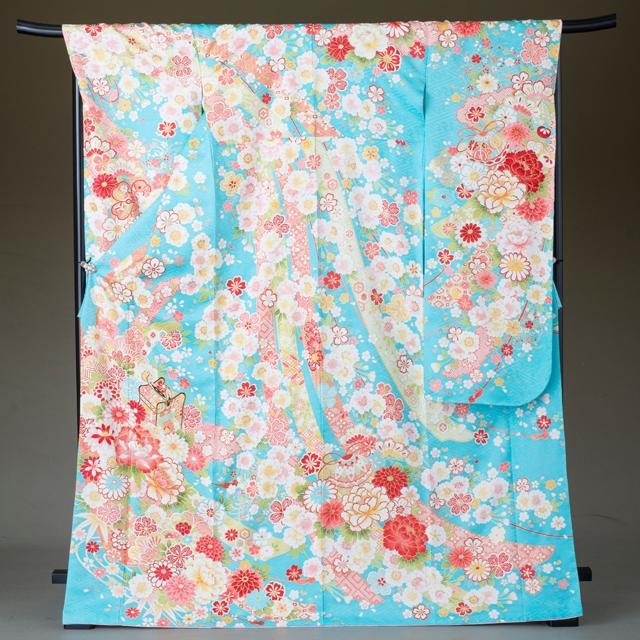 振袖 レンタル 着物 振袖 fs325 水色に古典の花々とまり 結婚式 成人式 貸衣裳 貸衣装 和服 往復送料無料 【レンタル】