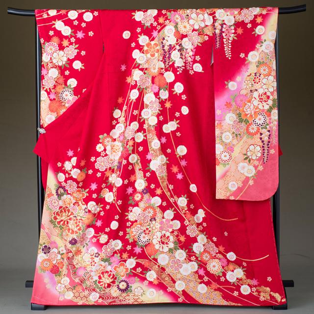 振袖 レンタル 着物 振袖 fs326 赤に古典花々 結婚式 成人式 貸衣裳 貸衣装 和服 往復送料無料 【レンタル】