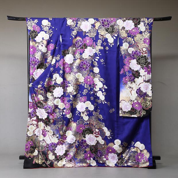 振袖 レンタル 着物 振袖 fs329 濃いブルー紫花々 Mサイズ 結婚式 成人式 貸衣裳 貸衣装 和服 往復送料無料 【レンタル】