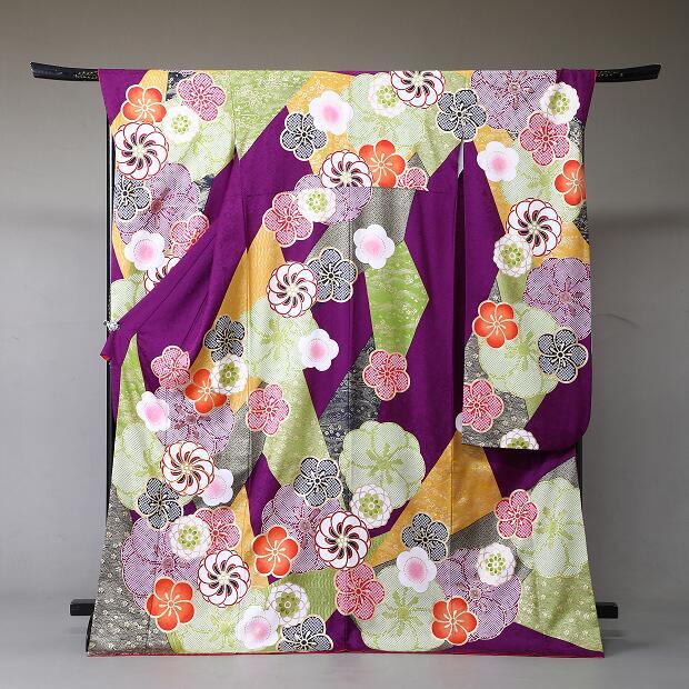 振袖 レンタル 着物 振袖 fs330 紫にしぼり風梅の花 Lサイズ 結婚式 成人式 貸衣裳 貸衣装 和服 往復送料無料 【レンタル】