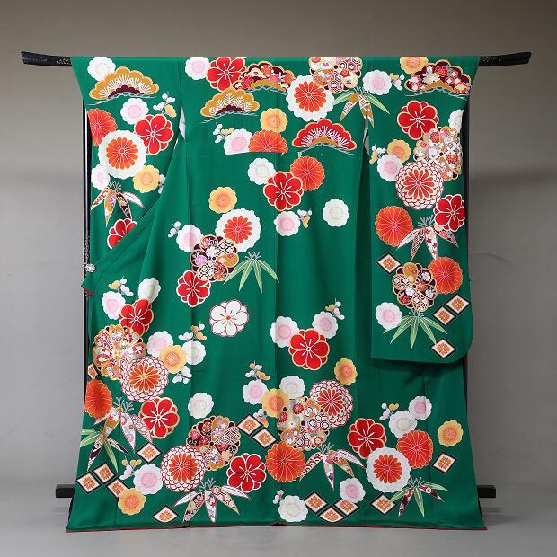 振袖 レンタル 着物 振袖 fs331 緑に古典の花々 Lサイズ 結婚式 成人式 貸衣裳 貸衣装 和服 往復送料無料 【レンタル】