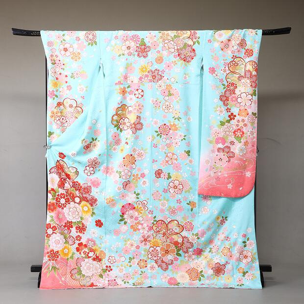 振袖 レンタル 着物 振袖 fs332 水色ピンク花柄 Lサイズ 結婚式 成人式 貸衣裳 貸衣装 和服 往復送料無料 【レンタル】