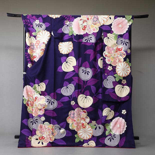 振袖 レンタル 着物 振袖 fs333 紫に橘と菊 Lサイズ 結婚式 成人式 貸衣裳 貸衣装 和服 往復送料無料 【レンタル】