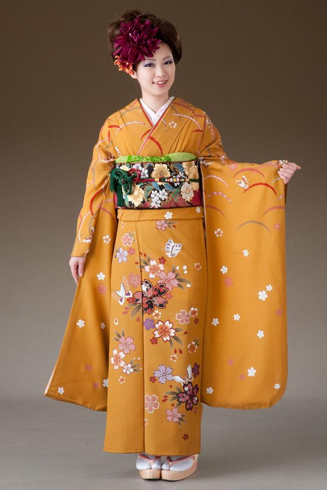 振袖 レンタル 着物 振袖 fk028 からし地に桜と蝶 Mサイズ 結婚式 成人式 貸衣裳 貸衣装 和服 往復送料無料 【レンタル】