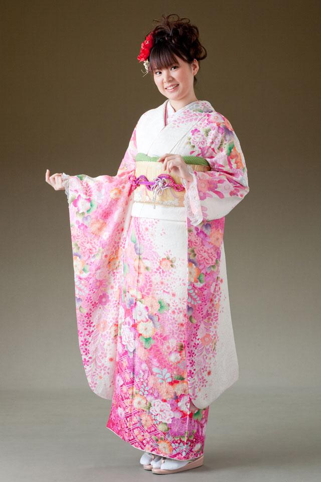 振袖 レンタル 着物 振袖 fs212 白に濃ピンク 裾格子に花々 SOサイズ 結婚式 成人式 貸衣裳 貸衣装 和服 往復送料無料 【レンタル】
