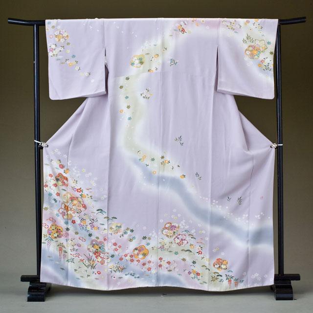 訪問着 レンタル 着物 訪問着 hs19 薄紫に裾ぼかし 四季の小花 Lサイズ 結婚式 貸衣裳 貸衣装 和服 往復送料無料 【レンタル】