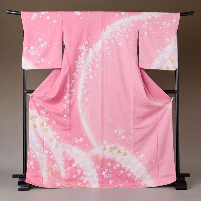訪問着 レンタル 着物 訪問着 hs27 ピンクラメ桜 LLサイズ 結婚式 貸衣裳 貸衣装 和服 往復送料無料 【レンタル】